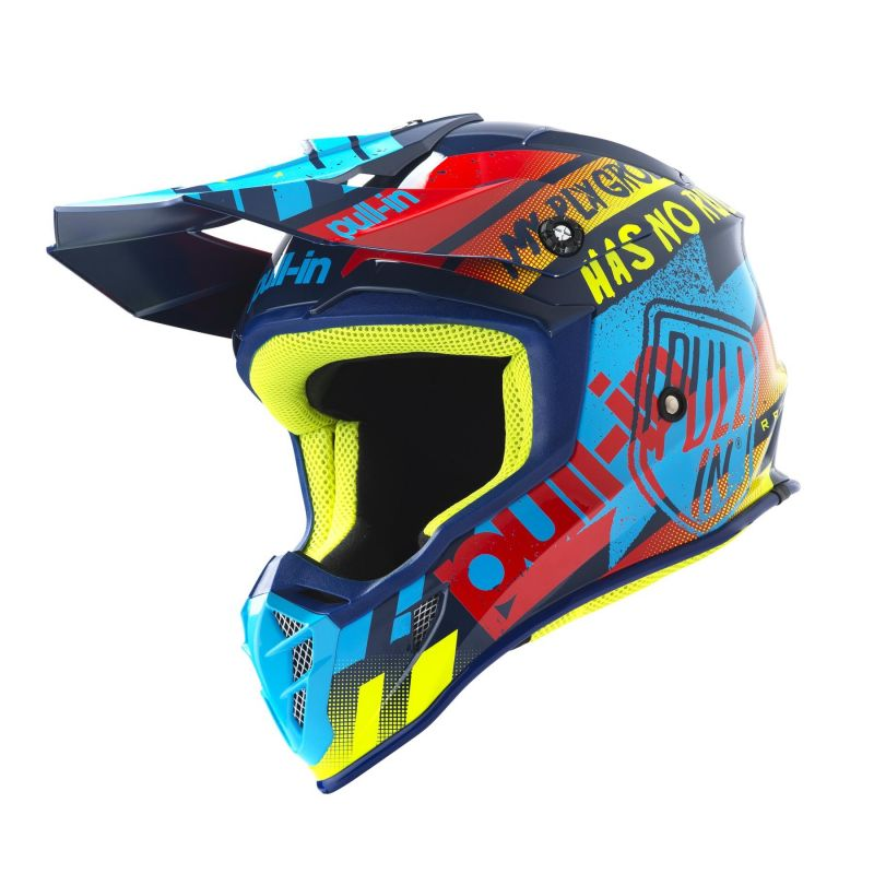 Casque cross Pull-in Trash cyan/rouge