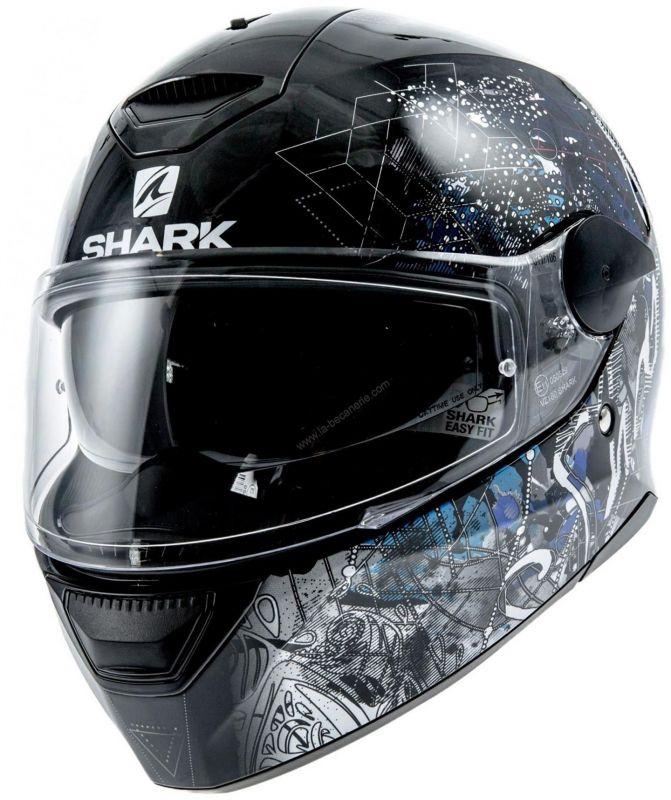 d1eb78300a8ff Casque intégral Shark D-SKWAL ANYAH noir/blanc/bleu - Casques moto ...