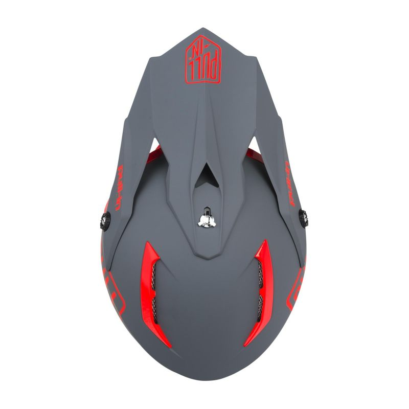 Casque cross Pull-in Solid rouge/gris - 2