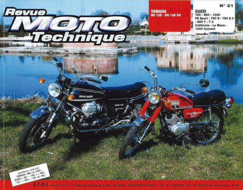 revue moto technique 21 yamaha 125 rs dx moto guzzi v7 750s 850t 1000 pi ces moteur sur la. Black Bedroom Furniture Sets. Home Design Ideas