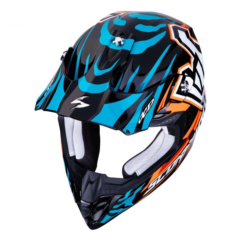 Casque cross Scorpion VX-16 Air Replica Rok orange/bleu - 3