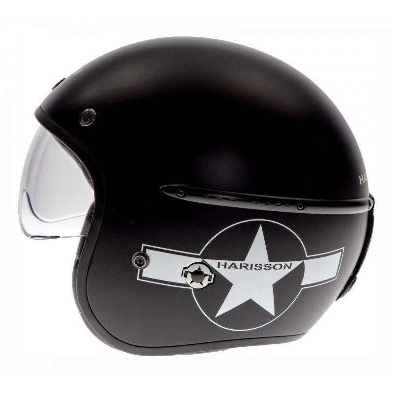 Casque jet Harisson Corsair Star Déco noir/blanc mat - 1