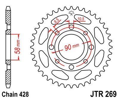 Couronne JT Sprockets Acier pas 428 43 dents - Pour Honda CM 125 C Custom 82-97