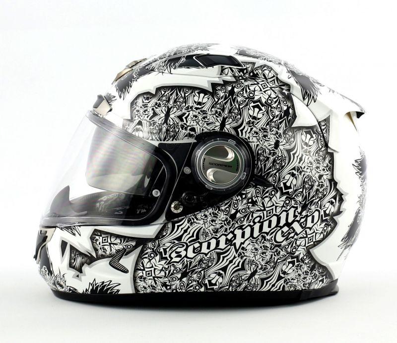 casque int gral scorpion exo 1000 air fantasia blanc argent type e11 pi ces casques moto sur. Black Bedroom Furniture Sets. Home Design Ideas