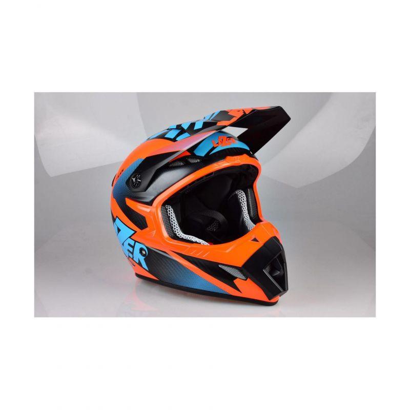 Casque cross Lazer MX8 X-team Carbon carbone/bleu/orange mat - 2