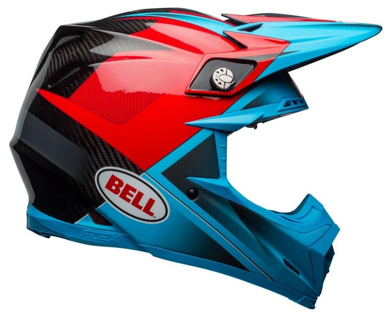 Casque cross Bell Moto 9 Flex Hound Gloss bleu mat/rouge - 2