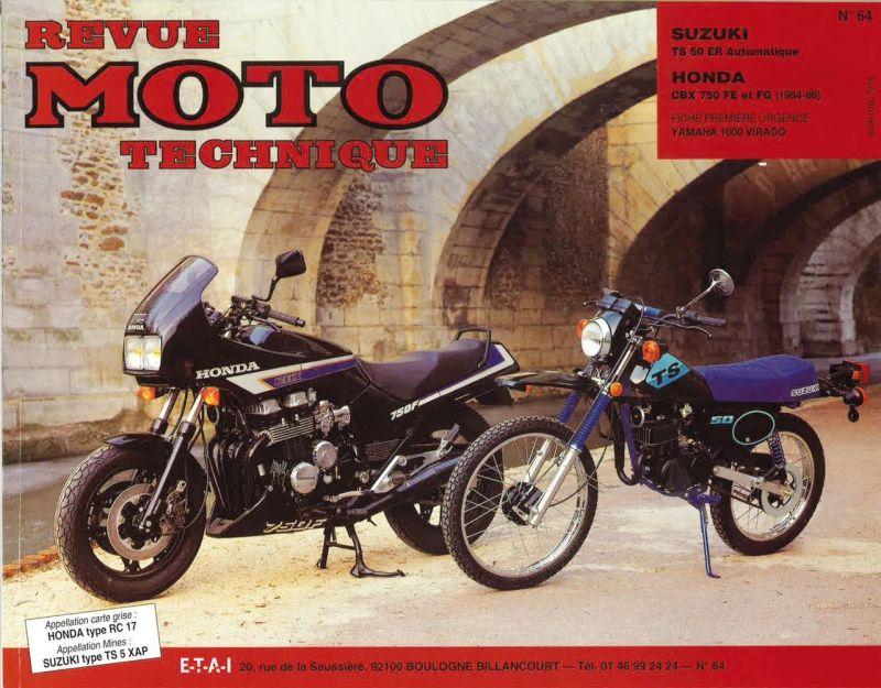 revue moto technique 64 suzuki ts 50 automatique honda cbx 750 f pi ces moteur sur la b canerie. Black Bedroom Furniture Sets. Home Design Ideas