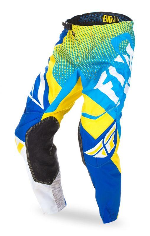 pantalon cross enfant fly racing evo 2 0 bleu jaune blanc quipement cross sur la b canerie. Black Bedroom Furniture Sets. Home Design Ideas
