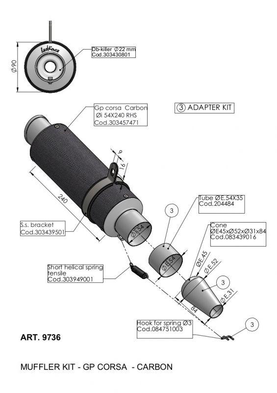 Silencieux universel Leovince GP Corsa carbone Ø 54 mm - 1