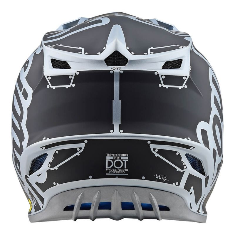 Casque cross Troy Lee Designs SE4 Polyacrylite Factory Mat silver - 1