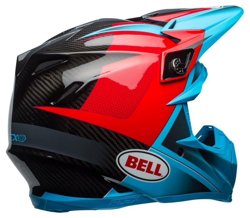 Casque cross Bell Moto 9 Flex Hound Gloss bleu mat/rouge - 7