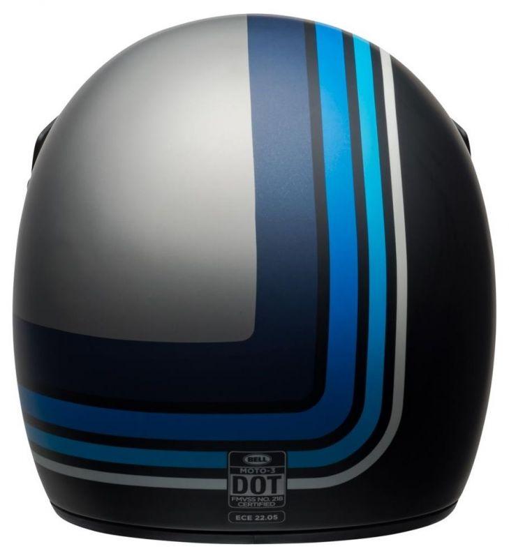 Casque Bell Moto 3 Matte argent/noir/blue Stripes - 4