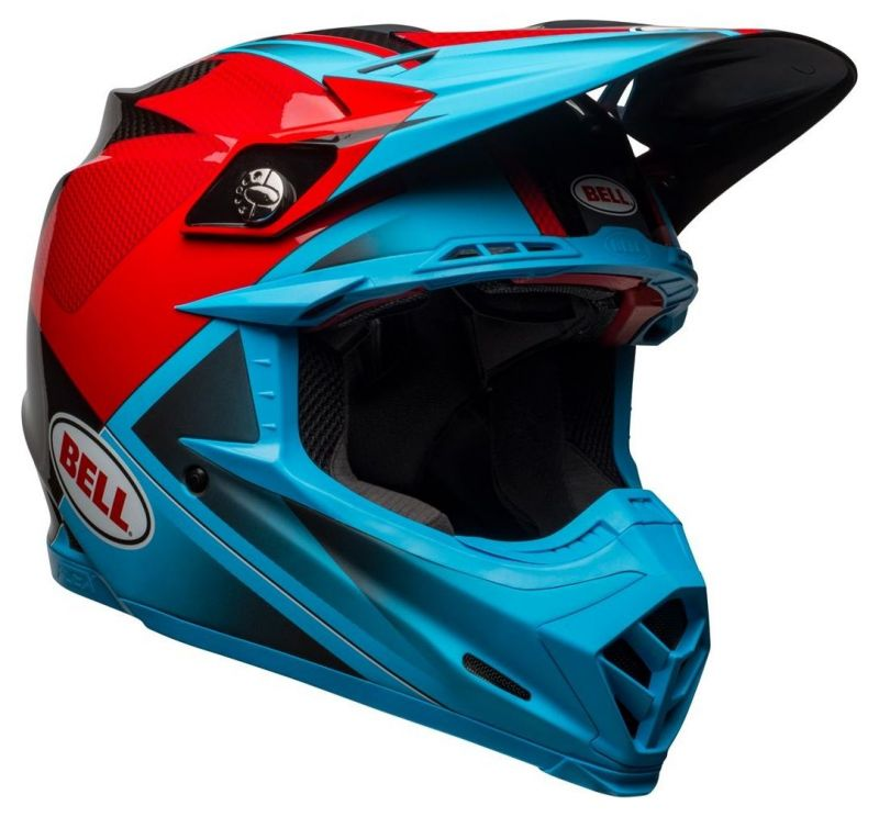 Casque cross Bell Moto 9 Flex Hound Gloss bleu mat/rouge - 4