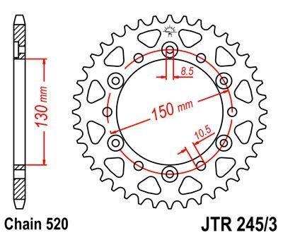 Couronne JT Sprockets Acier pas 520 45 dents - Pour Honda NX 650 Dominator 88-90
