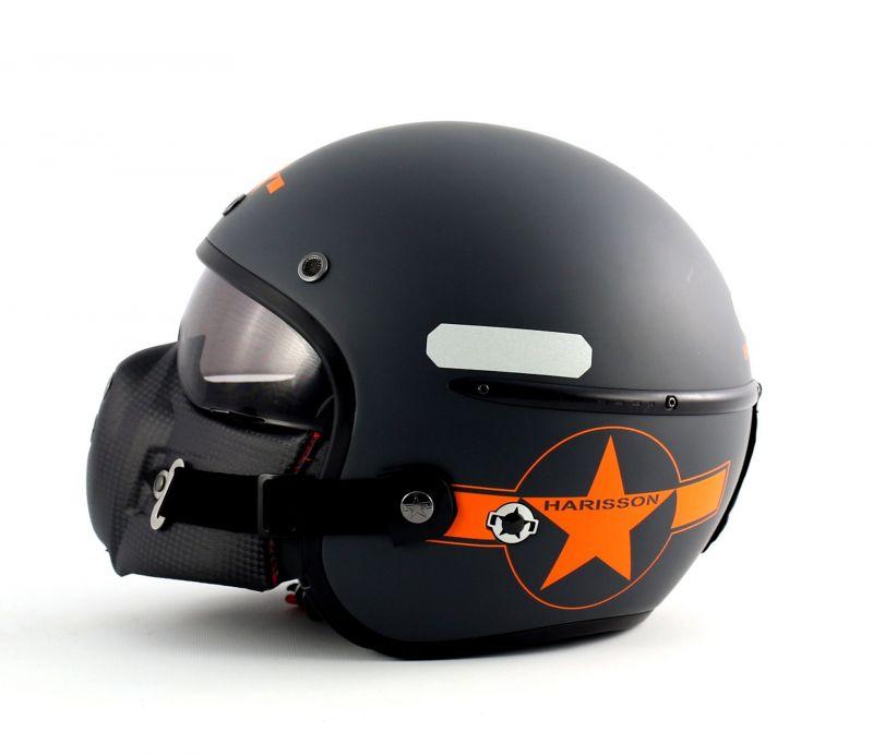 casque jet harisson corsair star d co gris orange mat casques moto sur la b canerie. Black Bedroom Furniture Sets. Home Design Ideas