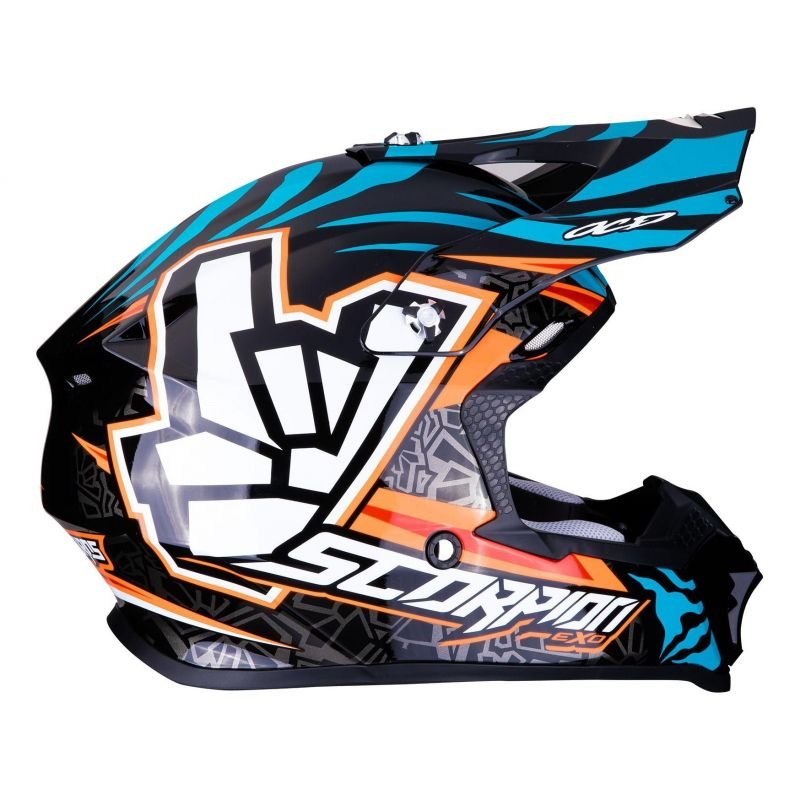 Casque cross Scorpion VX-16 Air Replica Rok orange/bleu - 2