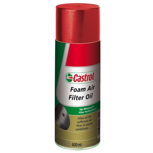 huile filtre air castrol foam air filter oil 400ml lubrifiant sur la b canerie. Black Bedroom Furniture Sets. Home Design Ideas