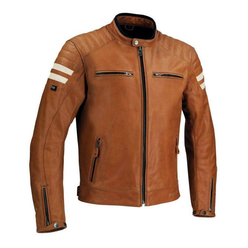 Blouson cuir Segura STRIPE camel/beige