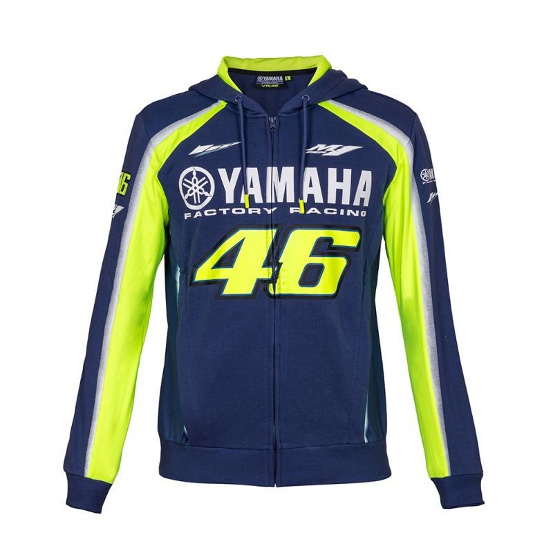 Sweat zip capuche VR46 Valentino Rossi Yamaha Racing bleu 2018