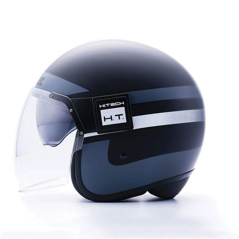 Casque jet Blauer POD Stripes noir/blanc/titane mat - 1