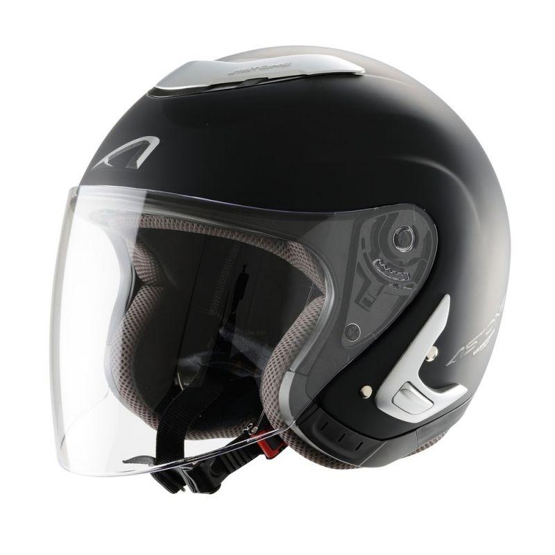casque jet femme astone ks mono color noir mat casques moto sur la b canerie. Black Bedroom Furniture Sets. Home Design Ideas