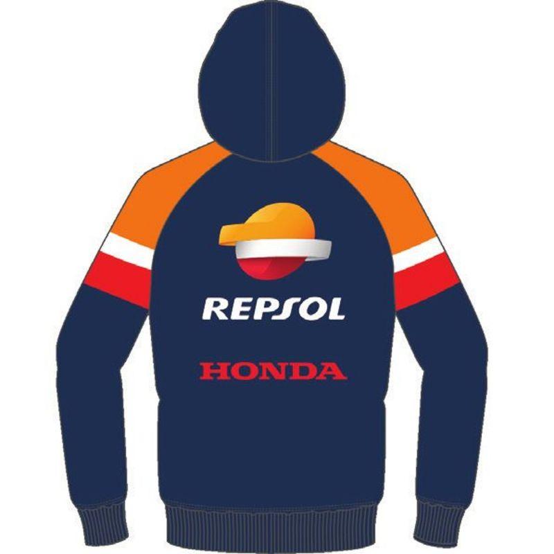 Sweat zippé à capuche Repsol navy/orange/rouge - 1