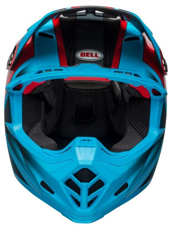 Casque cross Bell Moto 9 Flex Hound Gloss bleu mat/rouge - 5