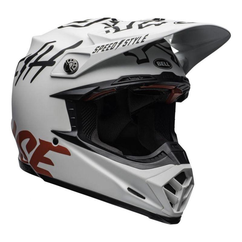 Casque cross Bell Moto 9 Flex Fasthouse WRWF mat/brillant blanc/rouge - 1