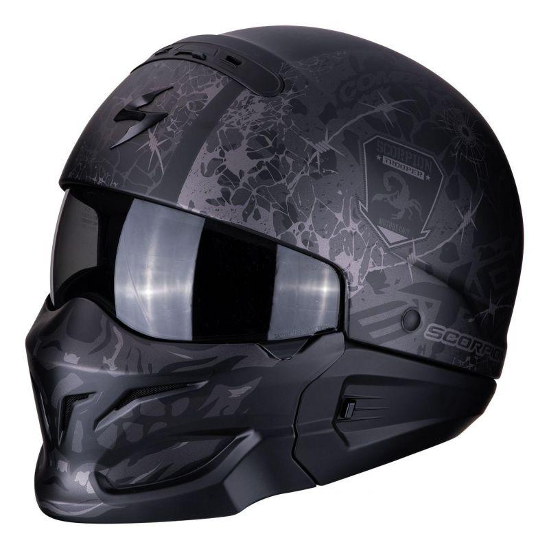 casque jet scorpion exo combat stealth mat noir argent casques moto sur la b canerie. Black Bedroom Furniture Sets. Home Design Ideas