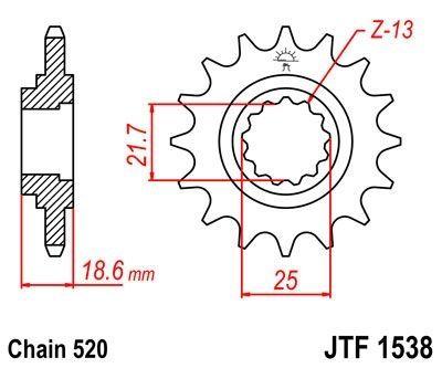 Pignon JT Sprockets Acier pas 520 14 dents - Pour Kawasaki Z750 04-12