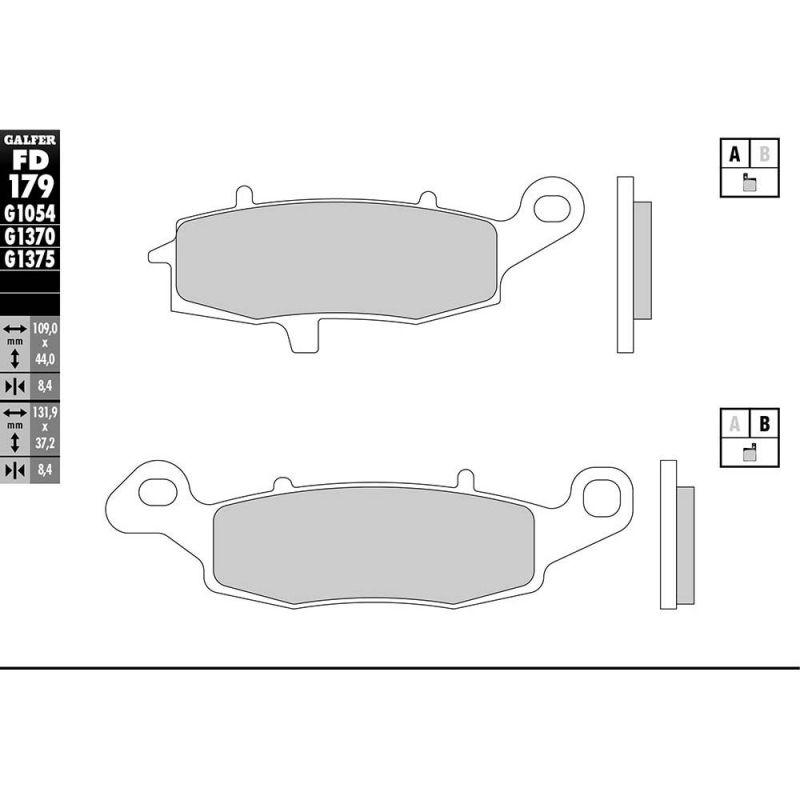 Plaquettes de frein Galfer G1370 sinter FD179 - 1
