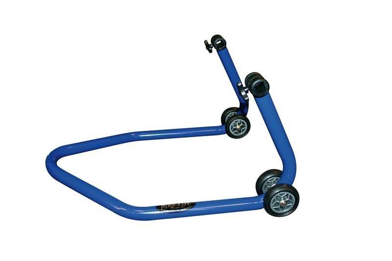 b quille arri re bleue bike lift rs 17 avec supports en l caoutchouc atelier stand sur la. Black Bedroom Furniture Sets. Home Design Ideas