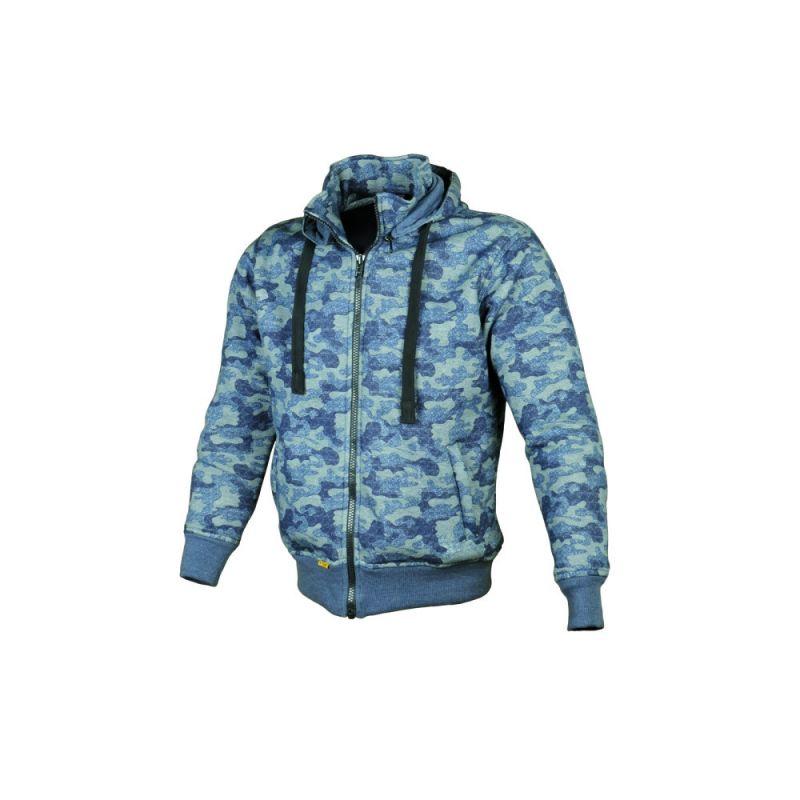 sweat capuche booster hoodie kevlar core camouflage bleu quipement route sur la b canerie. Black Bedroom Furniture Sets. Home Design Ideas