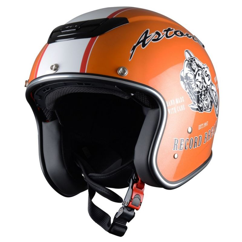 casque jet astone sportster exclusive record orange casques moto sur la b canerie. Black Bedroom Furniture Sets. Home Design Ideas