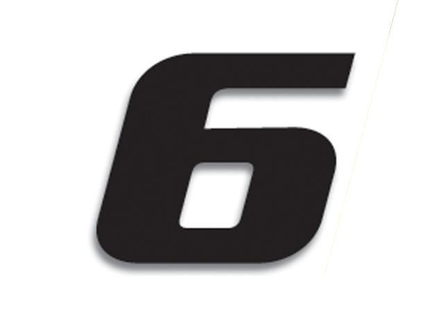 3 numéros de course Blackbird N° 6 noirs 20 x 25 cm