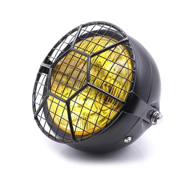 Grille de phare Brazoline Hexa type scrambler noire - 1