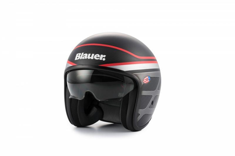 casque blauer pilot 1 1 graphic b noir mat rouge casques moto sur la b canerie. Black Bedroom Furniture Sets. Home Design Ideas