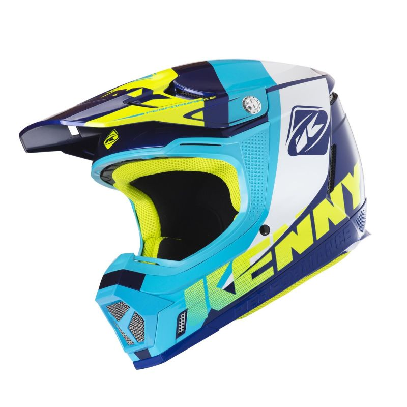 Casque cross Kenny Performance bleu/blanc/turquoise