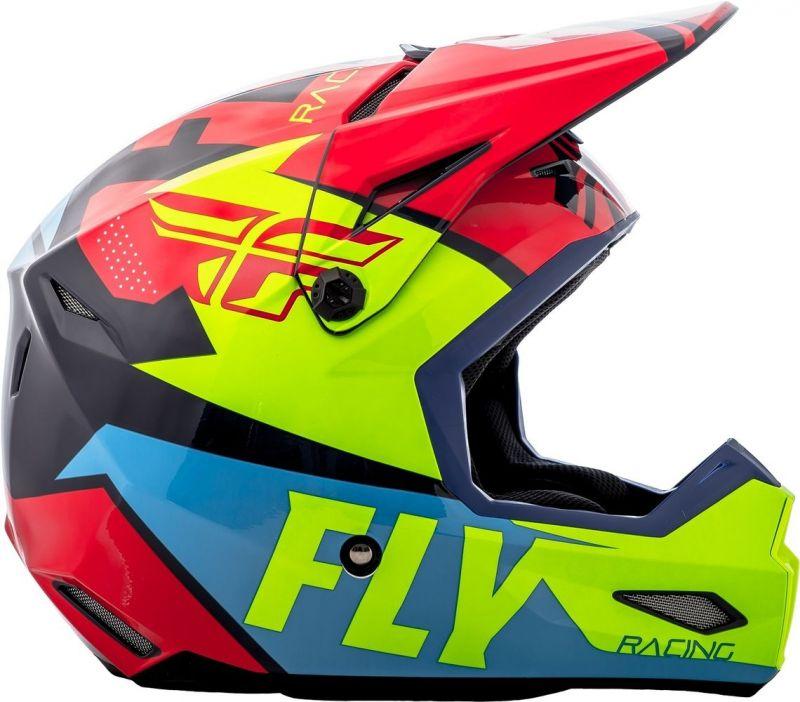 Casque cross Fly Racing Elite Guild rouge/bleu/jaune fluo - 1