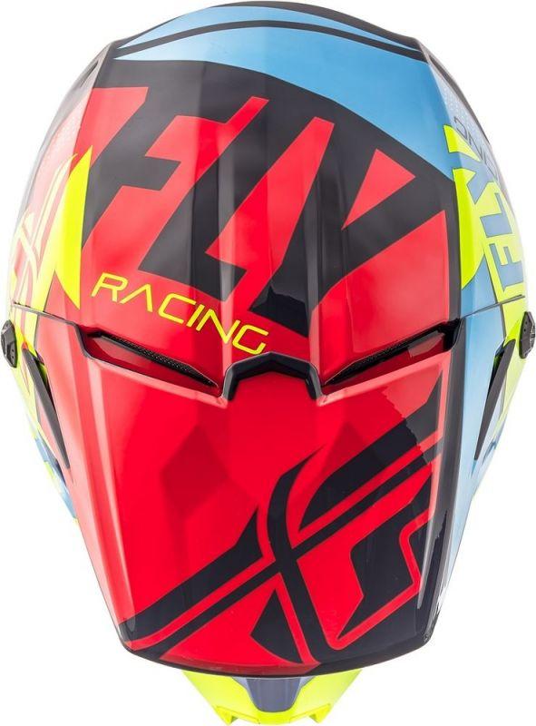 Casque cross Fly Racing Elite Guild rouge/bleu/jaune fluo - 3