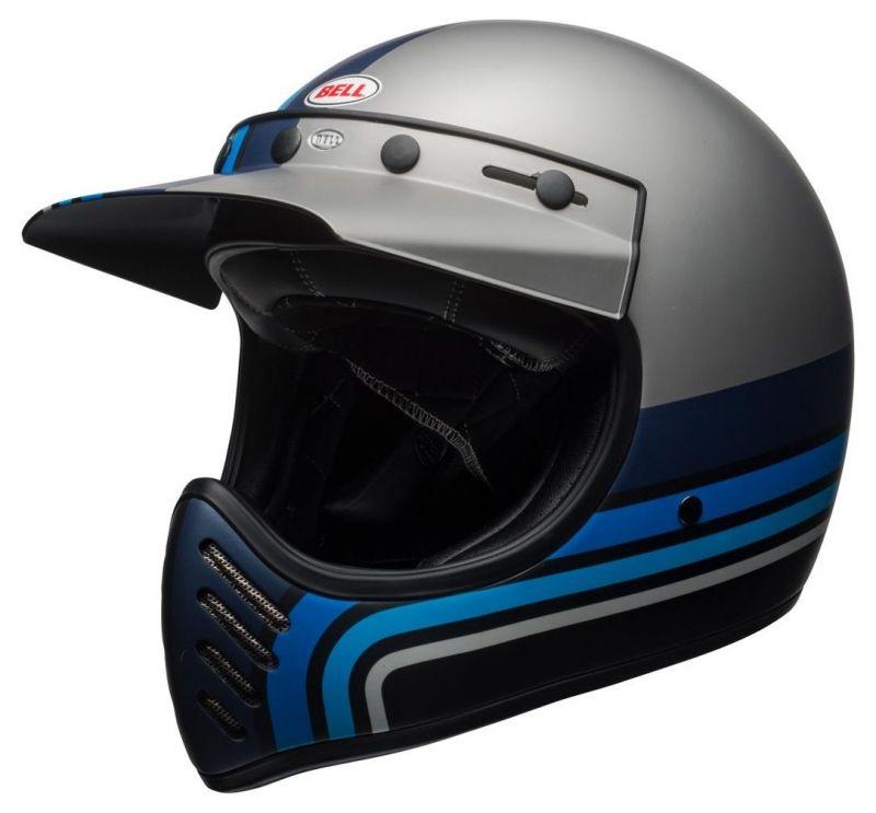Casque Bell Moto 3 Matte argent/noir/blue Stripes
