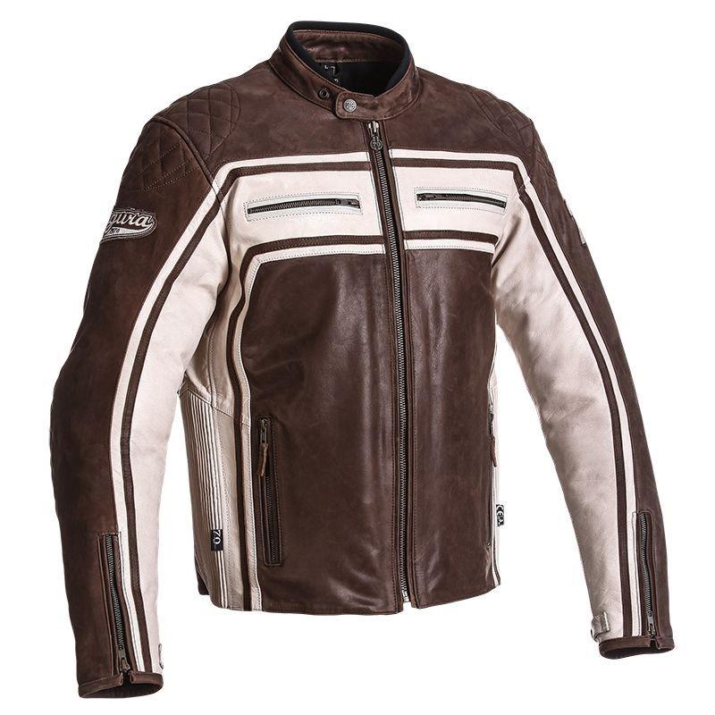 blouson cuir segura jones marron blanc quipement route sur la b canerie. Black Bedroom Furniture Sets. Home Design Ideas