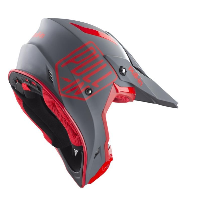 Casque cross Pull-in Solid rouge/gris - 1