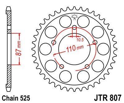 Couronne JT Sprockets Acier pas 525 44 dents - Pour Suzuki SV 650 99-09