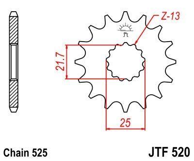 Pignon JT Sprockets Acier pas 525 14 dents - Pour Kawasaki ZR 750 Zephyr 91-94