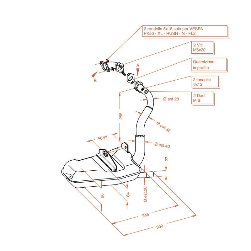 pot sito plus vespa vespa hp 50 pi ces echappement sur la b canerie. Black Bedroom Furniture Sets. Home Design Ideas
