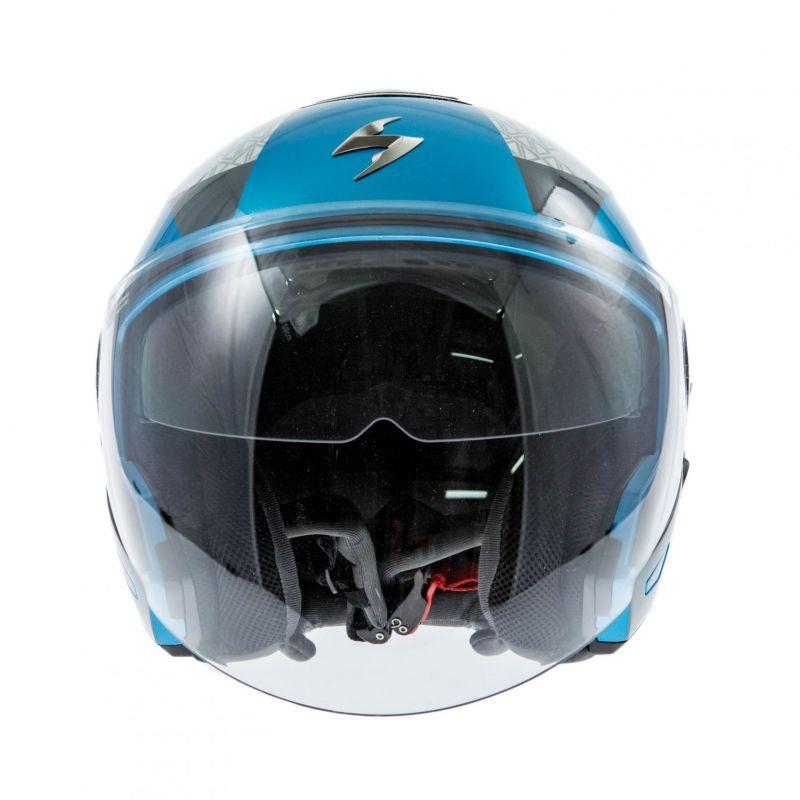 casque jet scorpion exo 210 air biron blanc bleu ciel argent casques moto sur la b canerie. Black Bedroom Furniture Sets. Home Design Ideas