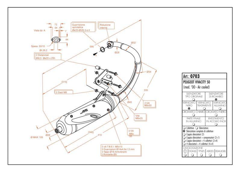 Pot d'échappement Sito pour Peugeot Vivacity 50 99-02 - 1