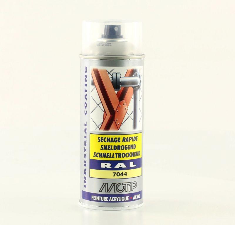 Bombe peinture gris soie brillant acrylique ral 7044 motip 400 ml m07029 peinture sur la b canerie for Peinture gris brillant