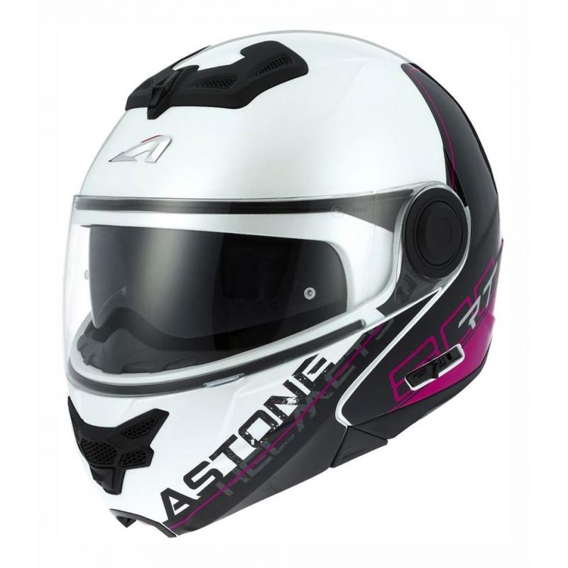 Casque modulable Astone RT800 graphic exclusive LINETEK rose/blanc
